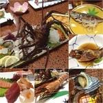 まさご屋 - 福岡市の志賀島で海の幸尽くし‼️ 伊勢海老、アワビ、ウニのお造りがメイン。 サザエのつぼ焼きや巨大海老の塩焼きなど、これでもかというほどの海鮮料理でした(*^o^*)