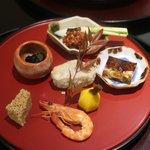 日本料理 太月 - 2015/11 岩茸わさび和え、海老芋、大根、鴨の松風、ふぐの皮の煮こごり、クワイ