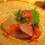 日本料理 鎌倉山倶楽部 - お作りは、①オニカサゴ ②鰤 ③青森の本マグロ