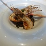 クッチーナ イタリアーナ ガッルーラ - 「イカ墨を練りこんだシャラテッリ」手長海老と魚介のトマトソース