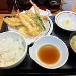 天丼 あきば - 海鮮天ぷら定食(2015.12)