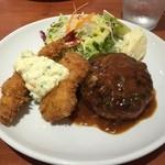 洋食marco - Aランチ(1000円)ハンバーグ、海老フライ、フィッシュフライ