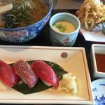 かごの屋 - 本まぐろづくし麺セット かき揚げ茶碗蒸しセット