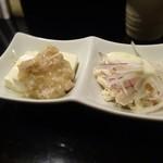 鳥まさ - 鶏挽肉餡かけ豆腐+ささ身のオニオン・マヨ