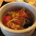 45279516 - いなっこトマトと茄子のつけ汁そばのつけ汁アップ(2015.12)