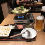 45282501 - もつ鍋定食とビール