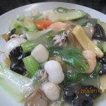 中国料理 桃花園 - 野菜たっぷり海鮮あんかけ焼きそば(塩味)1,250円