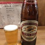 小太郎 - 201512 ビール大ビン(30円)。ジョッキの生ビールもあるが、小さいグラスが好きなので瓶派。