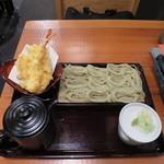 くげ庵 - 天ぷら盛合せとへぎそば(そば中盛り)
