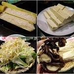 45344695 - 自家製竹筒軟骨入り鶏肉つみれ/豆腐/野菜3種盛り/きのこ3種盛り