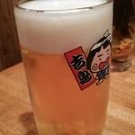 やきとり 吉鳥 - 生ビール お店専用グラス 380円はビール好きにはうれしい
