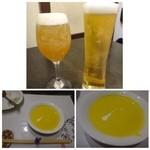 海浜館 - ◆ビールと梅酒。 ◆お通しは「かぼちゃのポタージュ」、、お通しがスープと言うのは珍しい。 カボチャのお味も濃厚で美味しい。