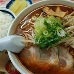 味の番番 - 赤味噌ラーメン+小ライス(750+100円)