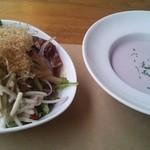 Hearty Cafe - ゴボウサラダと紫芋スープ