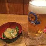45422496 - 生ビールとお通しの九条ネギ