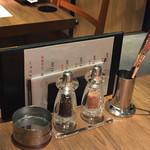 焼肉ホルモン 青一 - 焼肉ホルモン 青一(東京都港区青山一丁目)卓上の調味料とメニュー