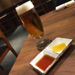 焼肉ホルモン 青一 - 焼肉ホルモン 青一(東京都港区青山一丁目)生ビール(マスターズドリーム)800円