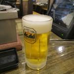 七輪焼肉 安安 - 生ビール 290円