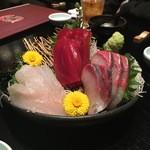 源喜屋 - お刺身おすすめ3点盛り(めばち、カンパチ、アイナメ)