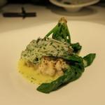 45434205 - 白子、鱈の身 じゃが芋、ニンニクソース、葱、法蓮草、イタリアンパセリ