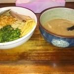 45448594 - 濃魚つけ麺塩の倍盛り+ほうれん草(お店のブログクーポン使用)750円