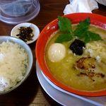 りょう花 - 鶏白湯味玉らー麺+白ごはん大
