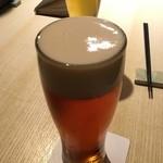 45456861 - 地鶏焼鳥コース (ドリンク1杯付) 5200円(税込)  まずは生ビール(琥珀エビス)で乾杯です