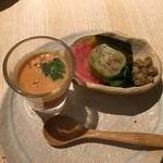 45456871 - 前菜:金時人参と茄子の揚げ浸し・安納芋のムース