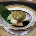 魯忍 - 先付:肝醤油、アボガトと胡麻の練り物かけ