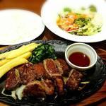 デニーズ - 大盛り 牛カットロースステーキ    + ライス&選べるサラダセット    ¥1927