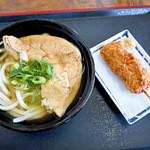 梅木うどん店 - かけ+お揚げと串カツ