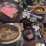Kinnabe - 牛肉(4人分)とそれを鍋で手際よく煮て持ってくれる仲居さん