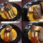 Kinnabe - 左:盛られた牛肉 右:牛肉を取り出したところ