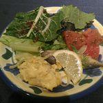 マヌエル・カーザ・デ・ファド - 前菜(サラダ、鮮魚のエスカベッシュ、鱈のオムレツ)