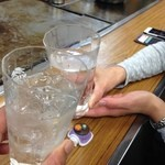 ひかりお好み焼 - H.27.12.12.夜 黒霧島ロック 400円 vs 黒霧島ロック 400円 de 乾杯♪