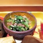 栞庵 やましろ - 壬生菜、胡麻、鰹節