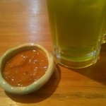焼貝うぐいす - 緑茶ハイとお通し
