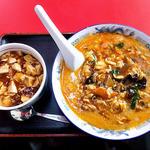 満里  - 料理写真:酢辣坦々麺 & ミニマーボー丼(2015年12月)