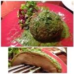 45503310 - ◆ジャンボマッシュルームのロースト(1400円)                       大きなマッシュㇽルームですので、肉厚で美味しいこと。岡山産だと言われたような。                       ソースもいいお味です。