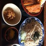 紀州串本 - 料理写真:ランチ(かつ重・冷たいそば・コーヒー) 650円 ライス・そば 大盛り200円 計850円