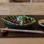 徳山鮓 - 鹿肉のロースト 香茸の粉末 山葵醤油☆