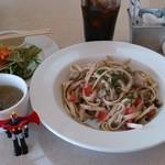 メイプル・カフェ - 常陸秋そば きのこソースのパスタセット¥1000