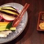 魚と日本のお酒 むく - 1512_むく_泉州農家直送生野菜_金山寺味噌ときなこマヨネーズディップ②