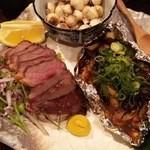 魚と日本のお酒 むく - 1512_むく_焼き落花生_合鴨ロース_柿のもろ味焼き焼き.JPG