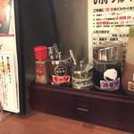 浜太郎 - 酢醤油とゴマだれ   ラー油、柚子胡椒