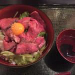 45537363 - あべ牛ローストビーフ丼&スープ