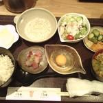 45543439 - 麦とろ御膳ランチ(左上の白く写ってしまった小鉢の中身は、大根と油揚げの煮物でした)