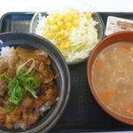 吉野家 - 料理写真:ロース豚丼(小)、豚汁、サラダ