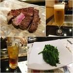 45571770 - ミディアムレアの焼き上がり/生ビール¥900/ウーロンハイ¥1000/焼き野菜①