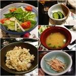 45571809 - サラダ/ガーリックライス/お新香/お味噌汁/焼き野菜②